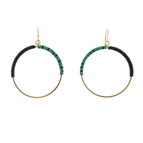 Moon and Lola - Bafilo Earrings in Green and Black