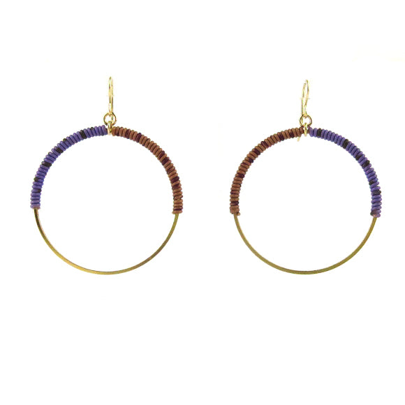 Moon and Lola - Bafilo Earrings in Lavender and Milk Chocolate
