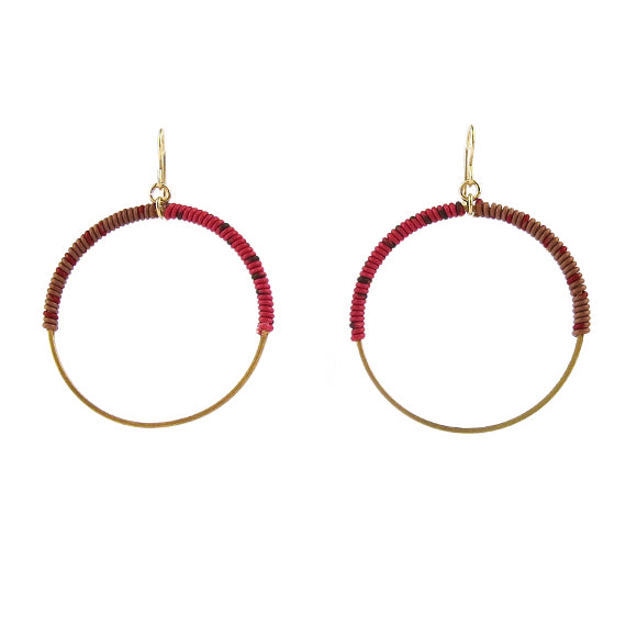 Moon and Lola - Bafilo Earrings in Red and Milk Chocolate