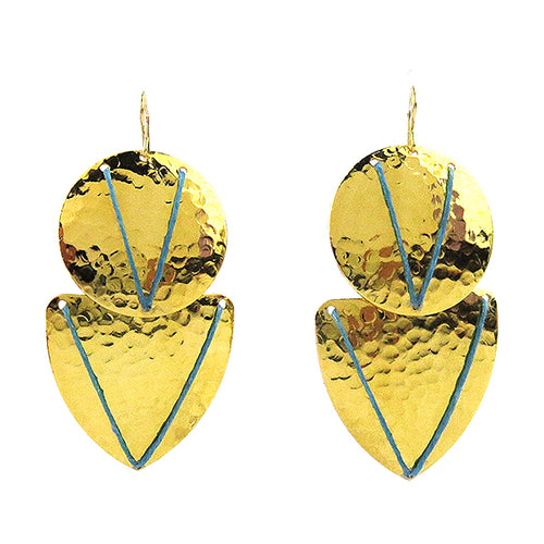 Moon and Lola - Bafo Earrings with Turquoise Linen Thread Accents