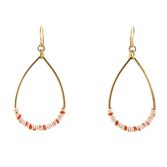 Moon and Lola - Bangan Earrings in white and orange