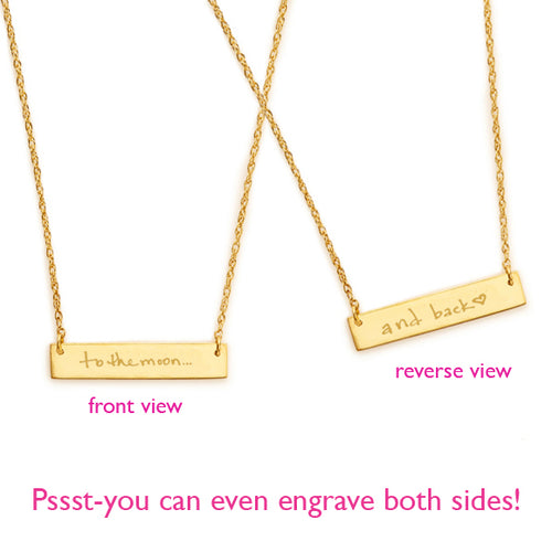 Custom Handwritten Engraved Bar Necklace
