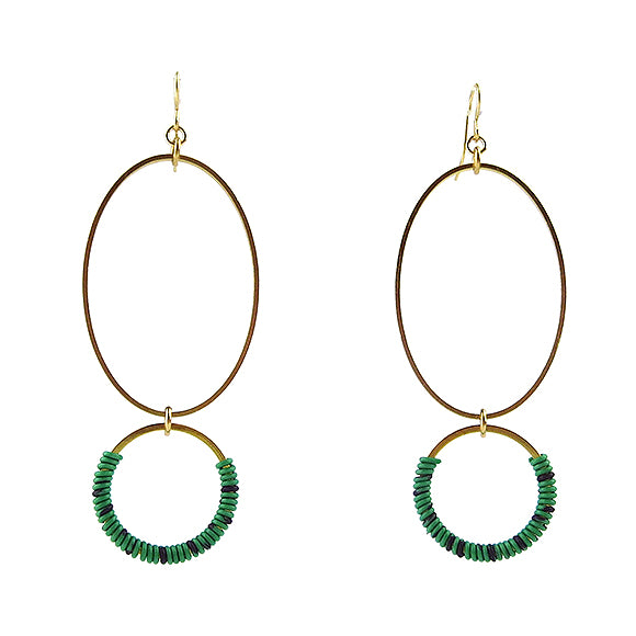 Moon and Lola - Bigabo Earrings in Green/Purple