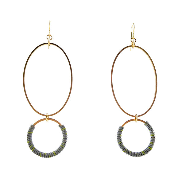 Moon and Lola - Bigabo Earrings in Gray/Yellow