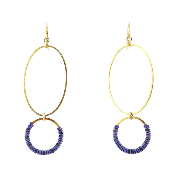 Moon and Lola - Bigabo Earrings in Purple/Green