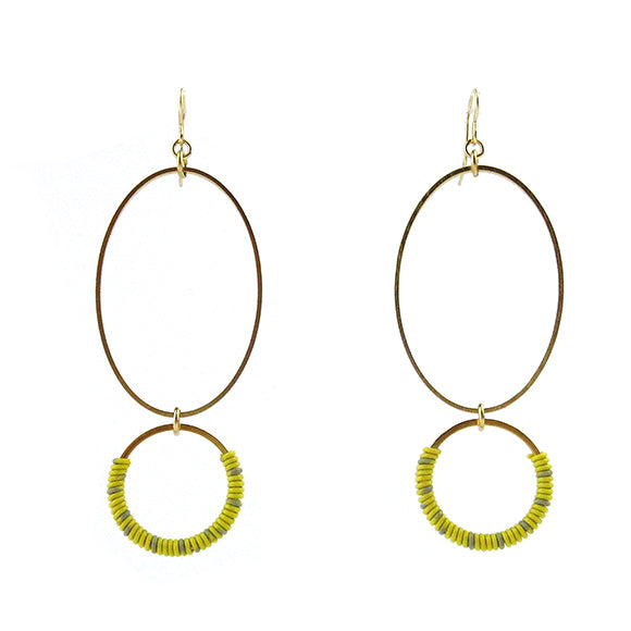 Moon and Lola - Bigabo Earrings in Yellow/Gray