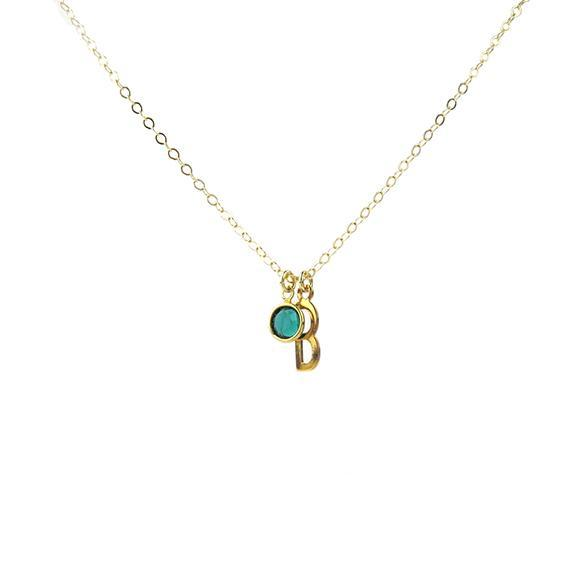 Moon and Lola - Birthstone Necklace with Belize Charm