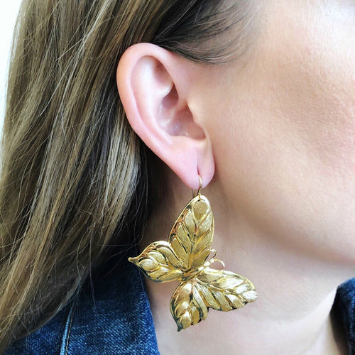 Moon and Lola - Butterfly Earrings in gold on model