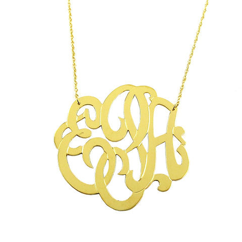 ML xx EM Cutout Metal Necklace - Interlocking