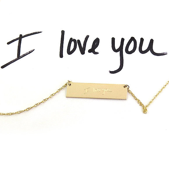 Moon and Lola - Custom Handwritten Engraved Bar Necklace