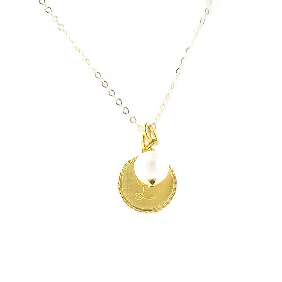 Moon and Lola - Dalton Charm Necklace with Cotton Pearl