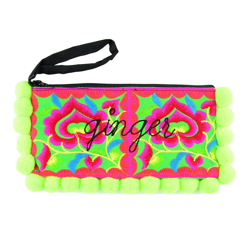 Moon and Lola - Pom Pom Punch Personalized Embroidered Hmong Clutch