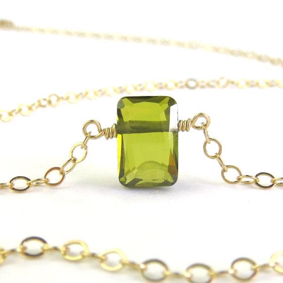 Moon and Lola - Olivine CZ Necklace