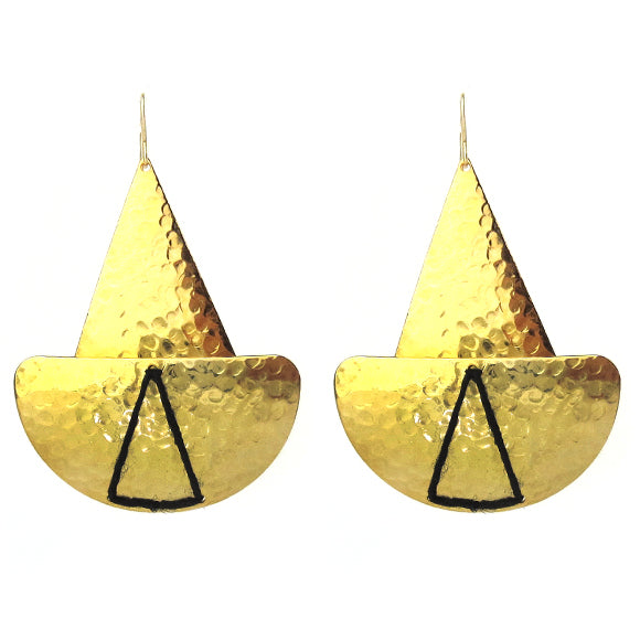 Moon and Lola - Lome Earrings in Hammered Brass with Black Linen Thread