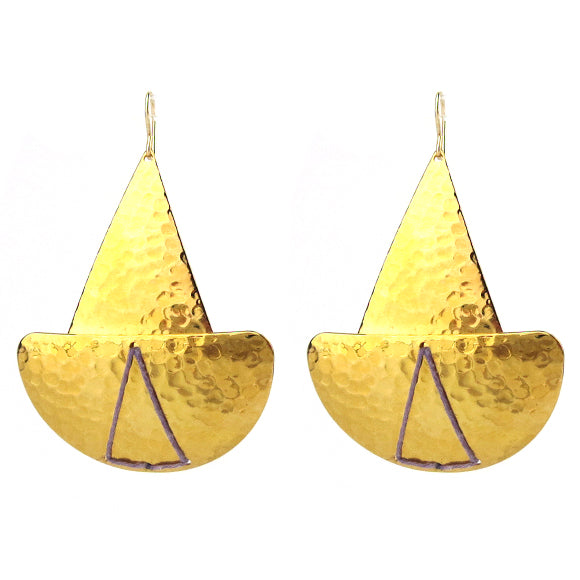 Moon and Lola - Lome Earrings in Hammered Brass with Lavender Linen Thread