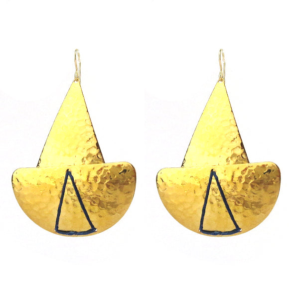 Moon and Lola - Lome Earrings in Hammered Brass with Navy Linen Thread