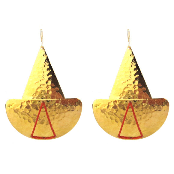 Moon and Lola - Lome Earrings in Hammered Brass with Orange Linen Thread