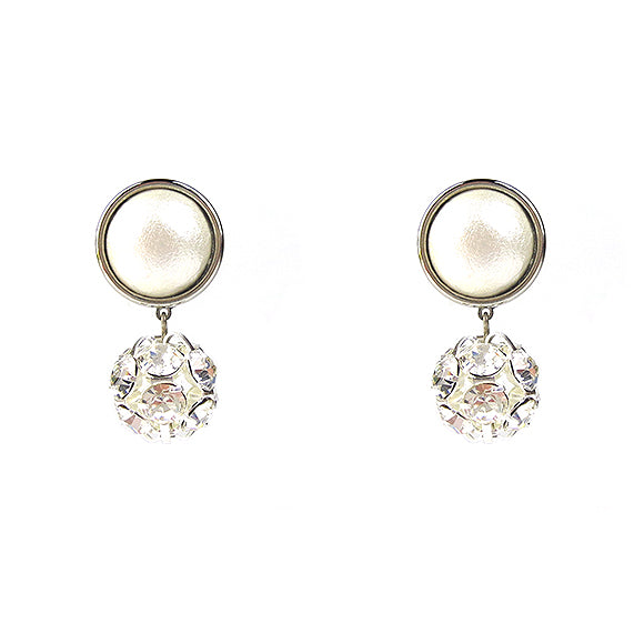 Moon and Lola - Luna Rhinestone Single Drop Earrings in silver