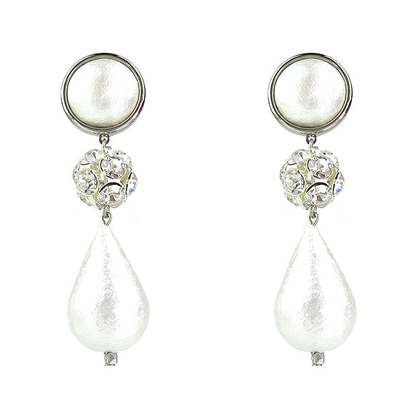 Moon and Lola - Luna Rhinestone Teardrop Earrings in silver