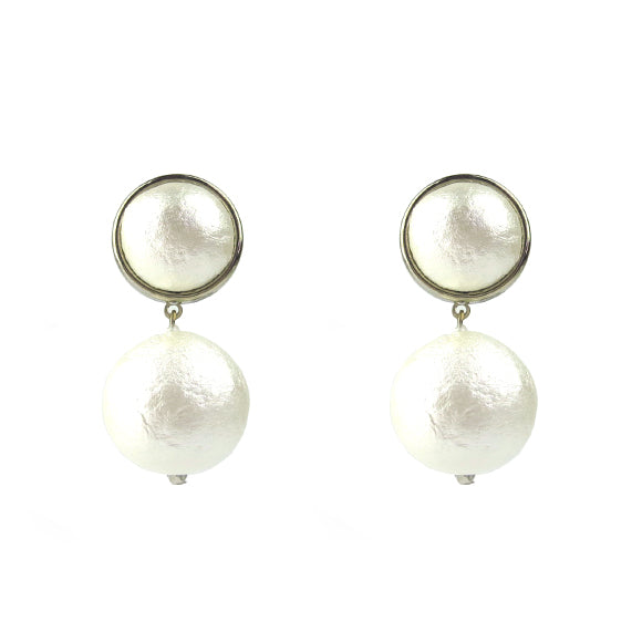 Moon and Lola - silver Luna Single Drop Cotton Pearl Post Earrings