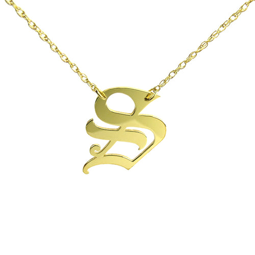 Moon and Lola - Metal Old English Single Letter Necklace