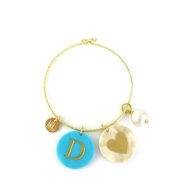 Moon and Lola - Kelly Bangle with Cotton Pearl Charm