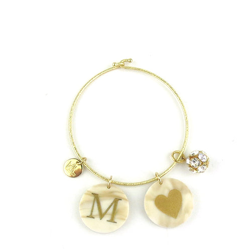 Moon and Lola - Kelly Bangle with Rhinestone Ball Charm