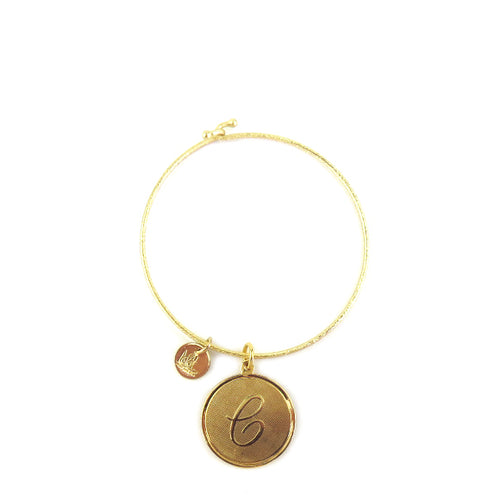 Moon and Lola - Savannah Bangle with medium initial charm