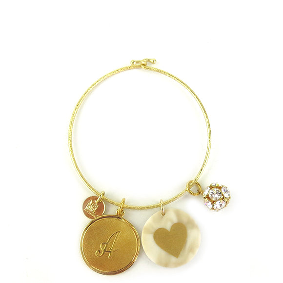 Moon and Lola - Laura Bangle with metal initial, acrylic image and rhinestone ball charms