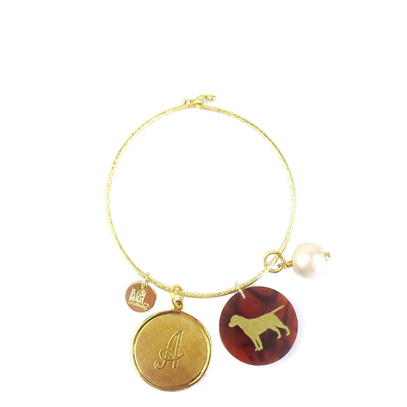 Moon and Lola - Morgan bangle with dalton, pet charm, and finishing touch