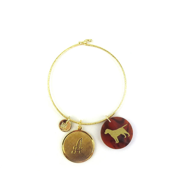 Moon and Lola - Gram Bangle with Dalton Charm and Pet Silhouette Charm