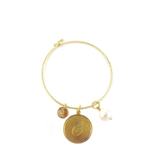 Moon and Lola - Ashley Bangle with Cotton Pearl