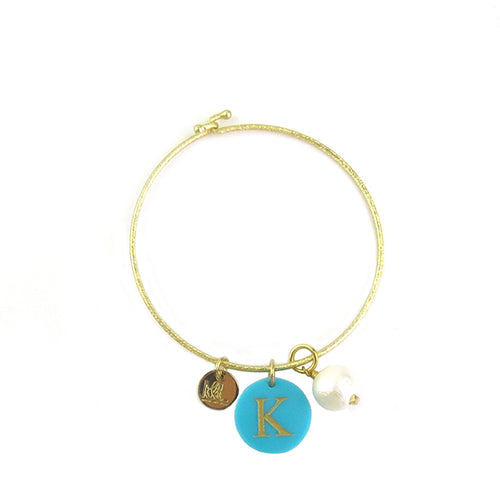 Moon and Lola - Nicole Bangle with acrylic charm and cotton pearl