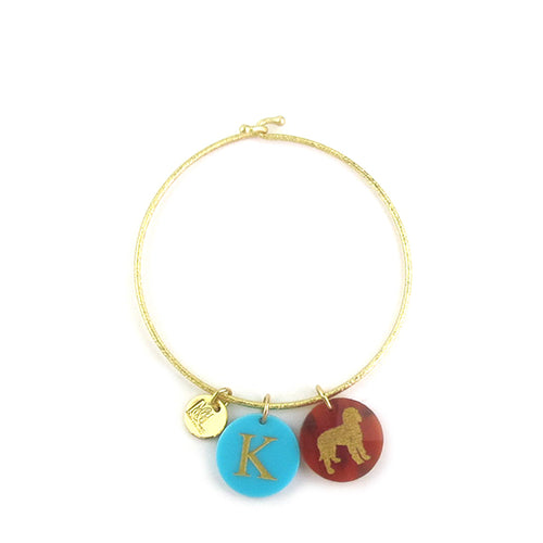 Moon and Lola - Gina Bangle with initial and pet charms