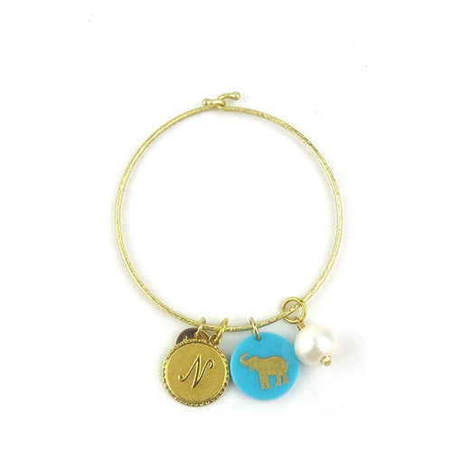 Moon and Lola - Laura Bangle with metal initial, acrylic image and cotton pearl charms