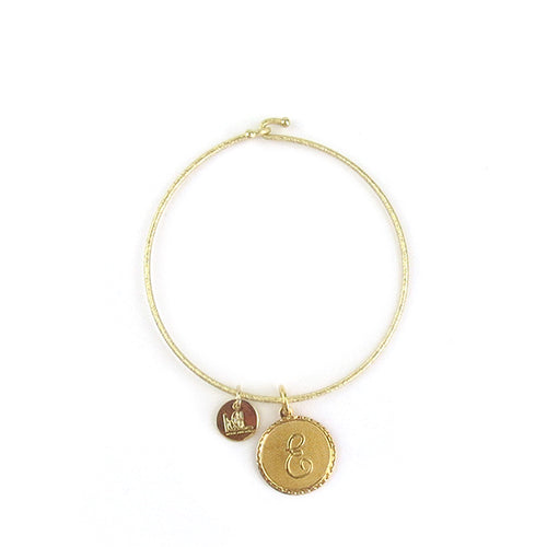 Moon and Lola - Savannah Bangle with small initial charm