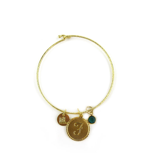 Moon and Lola - Dalton Single Initial and Birthstone Charm Bangle Bracelet