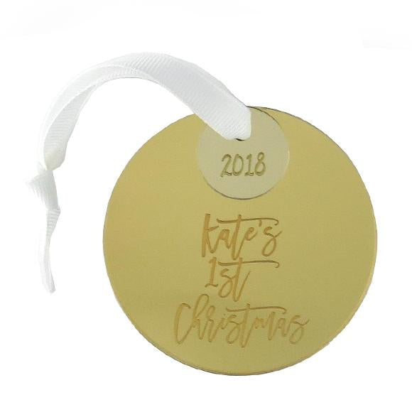 Moon and Lola - Mirrored Gold First Christmas Personalized Ornament