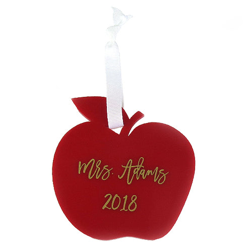 Moon and Lola - Personalized Red Apple Teacher Ornament