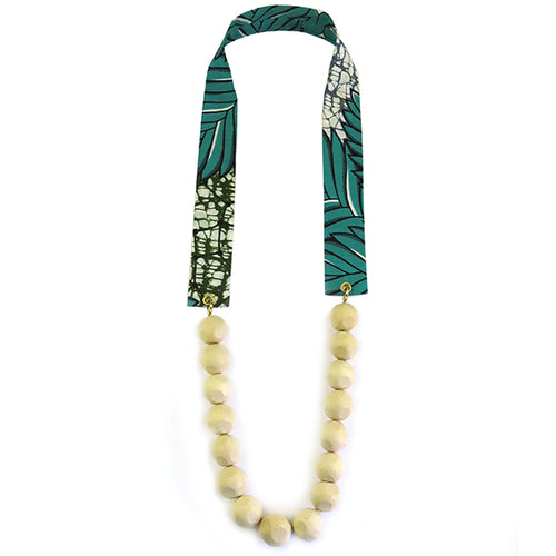 Moon and Lola - Agaro Necklace East African waxed textiles with Kukui nuts