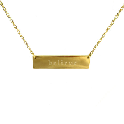 Old English Acrylic Engraved Bar Necklace