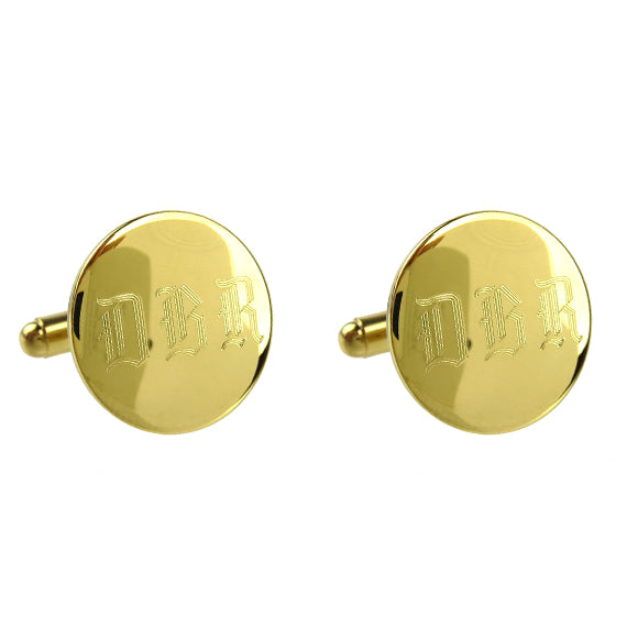 Moon and Lola - Engraved Round Cuff Links in Old English Font