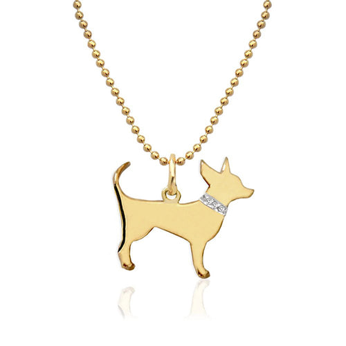 Moon and Lola - Petit Bijou Pendant on Bead Chain with Diamonds gold chihuahua