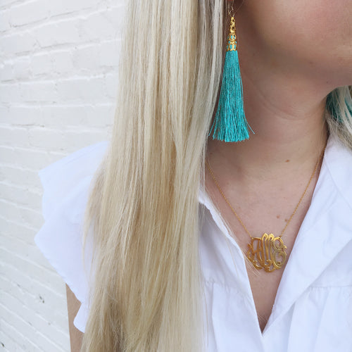 Moon and Lola - Phi Phi Earrings and Cheshire Metal Monogram Necklace