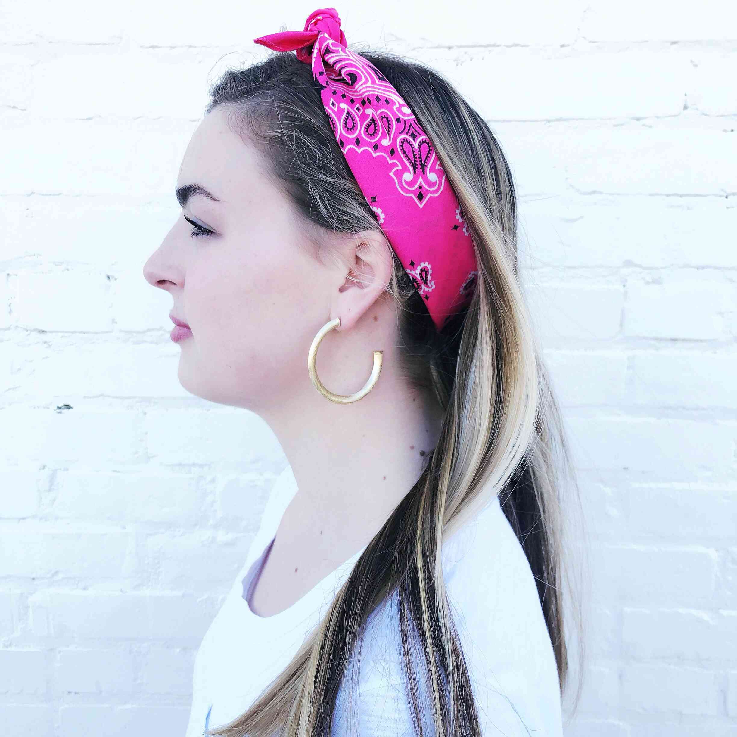 Moon and Lola - Traditional Bandana in Hot Pink used as a head wrap headband