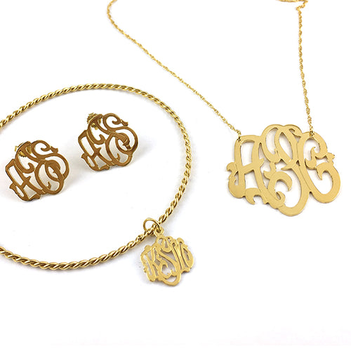 Moon and Lola - Cheshire Hand-cut Monogram on a Delicate Twisted Bangle with monogram earrings and necklace