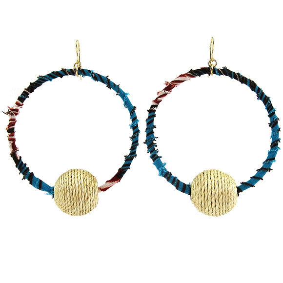 Moon and Lola - Tchamba Earrings with wrapped West African wax print textiles and raffia focal bead