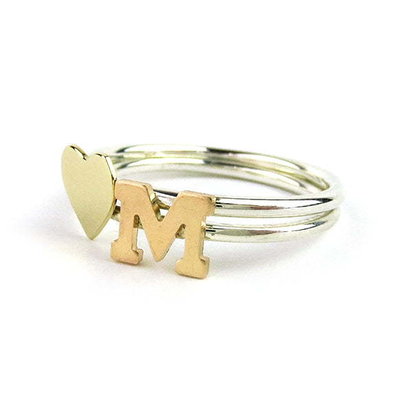 Moon and Lola - Victoria Single Letter Ring Stacked with Victoria Heart Ring
