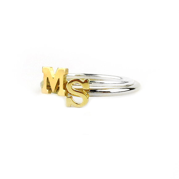 Moon and Lola - Victoria Ring Double Stack with Single Letters