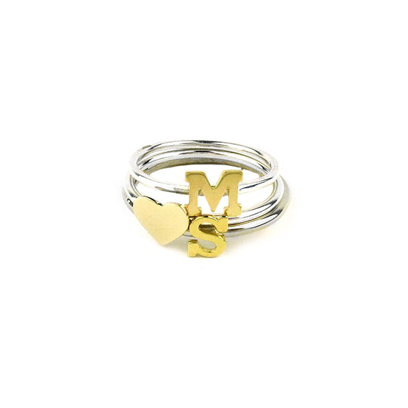 Moon and Lola - Victoria Ring Triple Stack with Single Letters and Heart